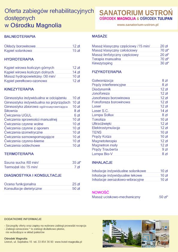 Ośrodek Magnolia - Wykaz zabiegów